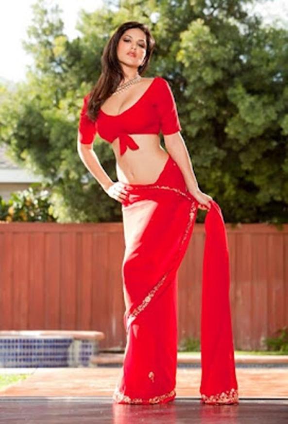 Sunny-Leone-Hot-red-sari-3